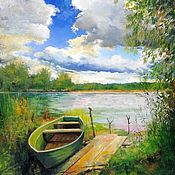 Картины и панно handmade. Livemaster - original item Oil painting landscape At the bridge _ author`s work. Handmade.