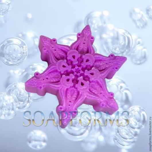 Силиконовая форма для мыла `Снежинка - 12`