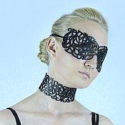 "Украшения handmade. Livemaster - original item Mask and choker ""Stranger"" made of genuine black leather. Handmade."