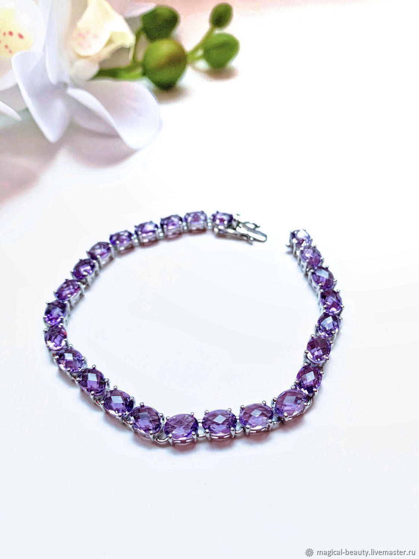 Bracelet with amethysts, Bead bracelet, Moscow,  Фото №1
