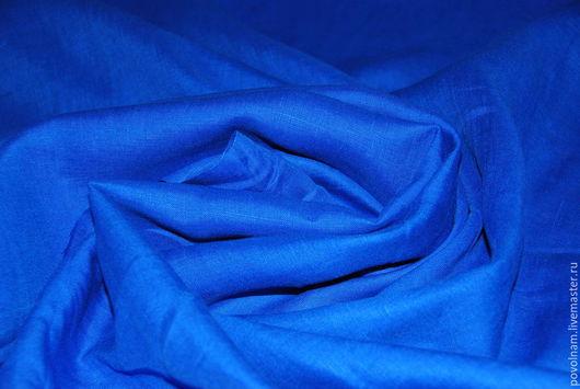 """Шитье ручной работы. Ярмарка Мастеров - ручная работа. Купить Лён 100% """"Лазурный"""" мягкий. Handmade. Синий, ткань для кукол"""