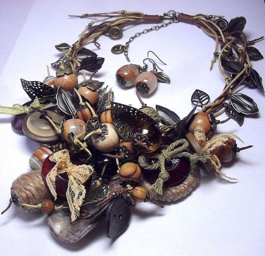 Jewelry Sets handmade. Livemaster - handmade. Buy Button Tree or Madame Elijah. Kit..Necklace, beige, wooden buttons