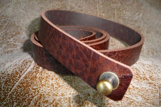 Пояса, ремни ручной работы. Ярмарка Мастеров - ручная работа. Купить Узкий кожаный ремень на кобурной кнопке. Handmade.