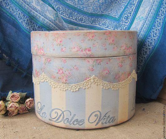 """Корзины, коробы ручной работы. Ярмарка Мастеров - ручная работа. Купить Шляпная коробка""""Dolce Vita"""". Handmade. Голубой, коробка шляпная"""
