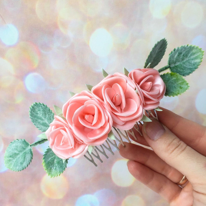 Свадебные украшения ручной работы. Ярмарка Мастеров - ручная работа. Купить Гребень с цветами, свадебный гребень с персиковыми розами. Handmade.