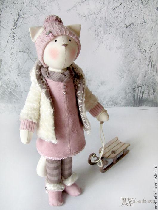 """Куклы Тильды ручной работы. Ярмарка Мастеров - ручная работа. Купить Кошка """"Я хочу запомнить, как падает снег"""". Handmade."""