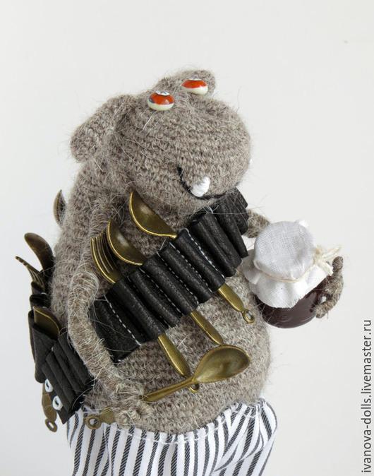 Сказочные персонажи ручной работы. Ярмарка Мастеров - ручная работа. Купить Авторская вязаная игрушка. Сладкоежка. Handmade. Серый
