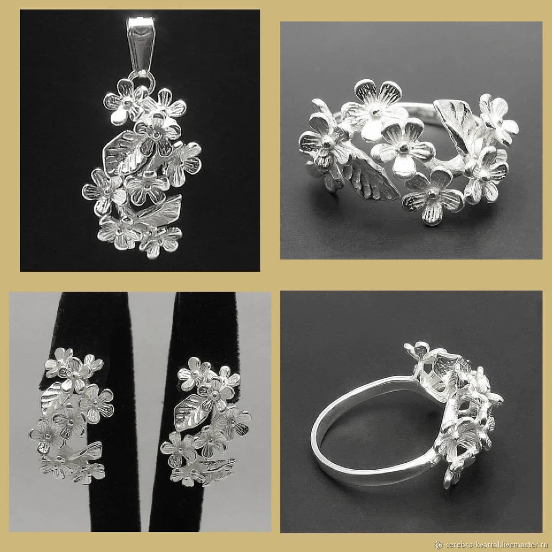 Silver flower Set. Very delicate and elegant, Stud earrings, Turin,  Фото №1