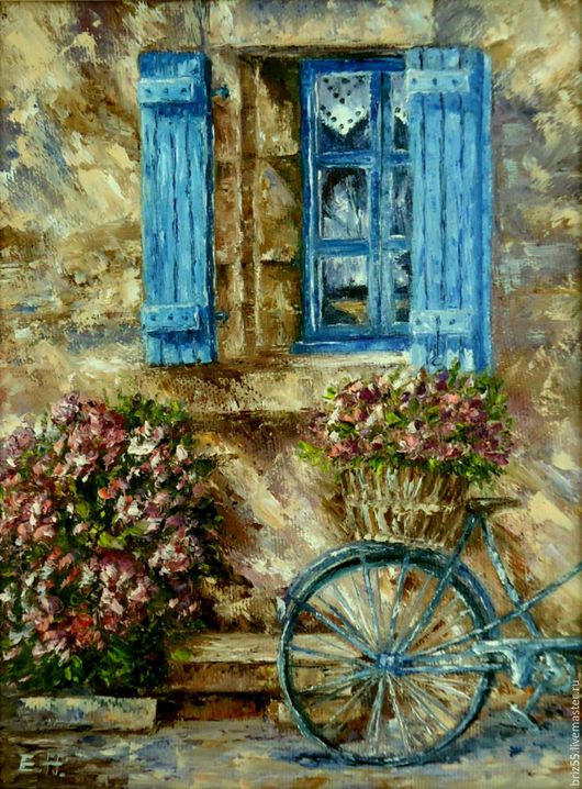 Buy oil painting blue bike on livemaster online shop for Selling oil paintings online