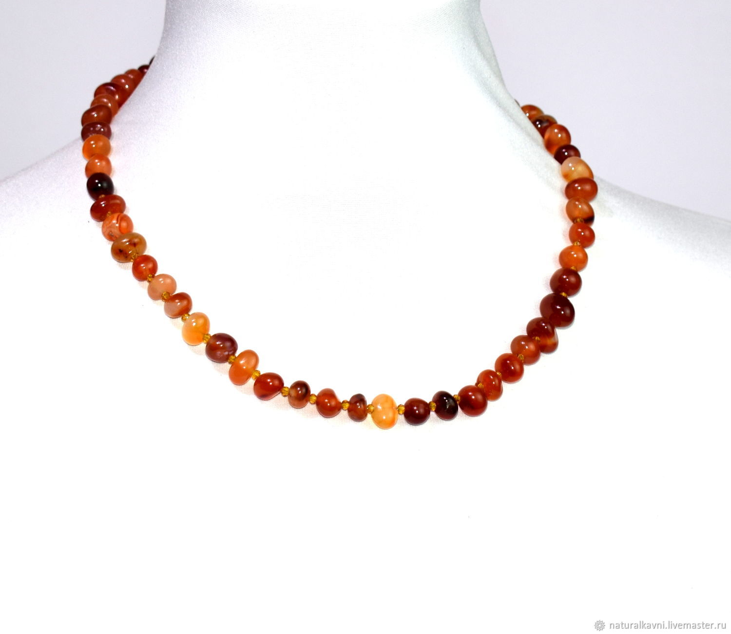 Beads made of natural carnelian stone, Necklace, Moscow,  Фото №1