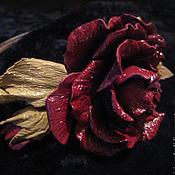 Украшения ручной работы. Ярмарка Мастеров - ручная работа Цветы из кожи. Украшение в прическу ободок для волос БОРДОВЫЕ ЦВЕТЫ. Handmade.