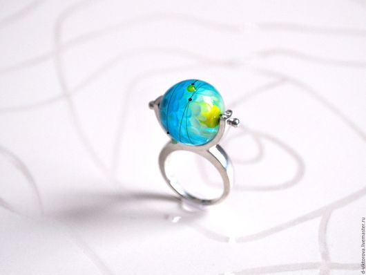 """Кольца ручной работы. Ярмарка Мастеров - ручная работа. Купить Кольцо из серебра и муранского стекла """"Желто-голубое"""". Handmade. Голубой"""