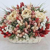 Цветы и флористика ручной работы. Ярмарка Мастеров - ручная работа Корзинка с сухоцветами. Handmade.