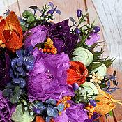 Цветы и флористика ручной работы. Ярмарка Мастеров - ручная работа Яркий букет с физалисом. Handmade.