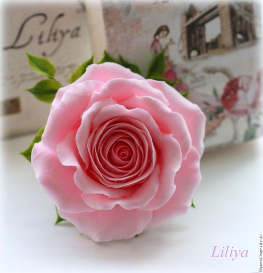 Броши ручной работы. Ярмарка Мастеров - ручная работа. Купить Брошь с розовой розой. Handmade. Бледно-розовый, брошь с цветком