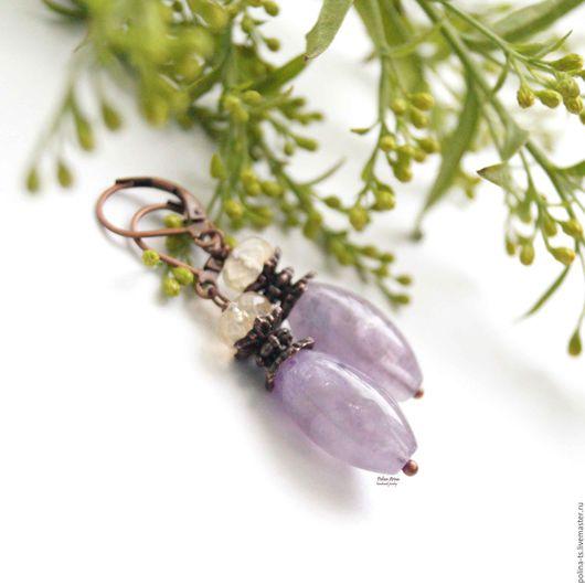 """Серьги ручной работы. Ярмарка Мастеров - ручная работа. Купить Серьги """"The Lavender"""" аметрин. Handmade. Сиреневый, серьги длинные"""