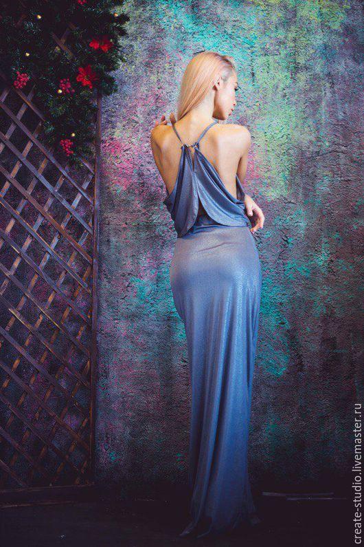 Платья ручной работы. Ярмарка Мастеров - ручная работа. Купить Вечернее серебристое трикотажное платье в пол. Handmade. Однотонный