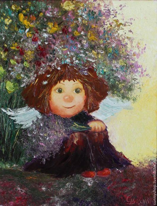 """Люди, ручной работы. Ярмарка Мастеров - ручная работа. Купить Картина в детскую """"Ангелочек с цветами"""". Handmade. Бордовый"""