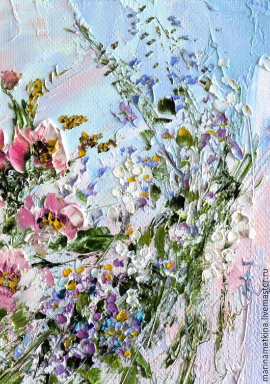 Маленькая картина маслом Благоухание цветы лето дача незабудки розовая розы голубая бирюзовая женский будуар.Авторская оригинальная пастозная живопись маслом на холсте с подрамником. Марина Маткина.