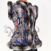 """Одежда ручной работы. Ярмарка Мастеров - ручная работа Жилет """"Сон бабочки"""" из павлопосадского платка. Handmade."""