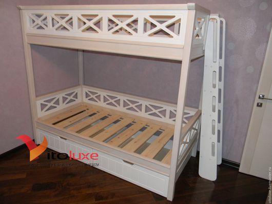 Детская ручной работы. Ярмарка Мастеров - ручная работа. Купить Кровать двухъярусная детская. Handmade. Комбинированный, массив сосны