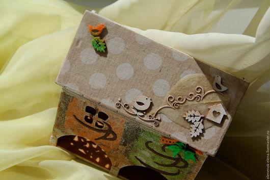 """Кухня ручной работы. Ярмарка Мастеров - ручная работа. Купить """"Птичкин домик"""" двойной чайный домик декупаж птицы оранжевый зеленый. Handmade."""