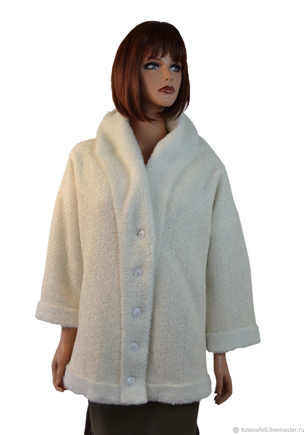 Faux fur jacket with lace pattern white, Outerwear Jackets, Mulhouse,  Фото №1