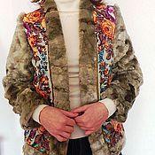 """Одежда ручной работы. Ярмарка Мастеров - ручная работа Жакет из павловопасадских платков  с меховыми рукавами """". Handmade."""