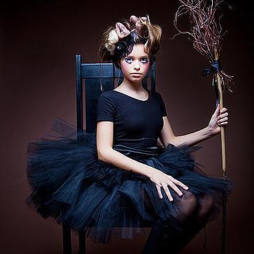 """Одежда ручной работы. Ярмарка Мастеров - ручная работа """"Черный лебедь"""" взрослая пышная юбка-пачка из фатина. Handmade."""