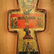Иконы ручной работы. Ярмарка Мастеров - ручная работа Икона Крест распятие с образом Святой троицы (17век). Handmade.
