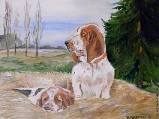 """Животные ручной работы. Ярмарка Мастеров - ручная работа. Купить картина маслом """"собаки на сене"""". Handmade. Разноцветный, картина"""