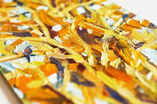 Картина маслом осень Дерево в золоте Картина пейзаж маслом купить Золотая осень Осенний пейзаж картина Импрессионизм