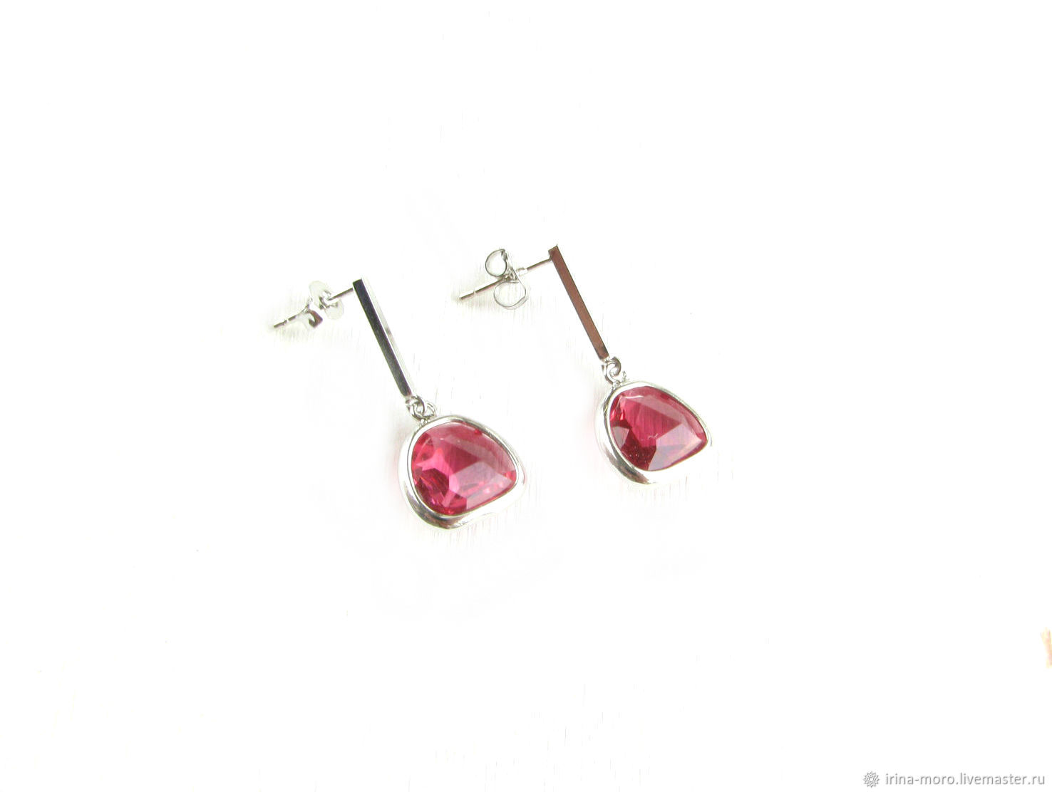 Earrings with pendants, stud earrings ' Ruby drops', Stud earrings, Moscow,  Фото №1