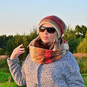 Аксессуары handmade. Livemaster - original item Women`s set: double beanie Snood hat in two turns. Handmade.