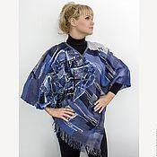 """Одежда ручной работы. Ярмарка Мастеров - ручная работа пончо и кулон """"Джинсовое ископаемое"""", ткачество. Handmade."""
