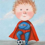 """Подарок для мальчика """"Футбольный супермен!"""" Авторская картина."""