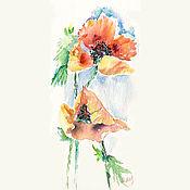 Картины и панно ручной работы. Ярмарка Мастеров - ручная работа Акварель. Акварельная миниатюра. Цветы. Мак восточный.. Handmade.