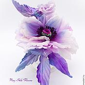 """Цветы и флористика handmade. Livemaster - original item Дизайнерский мак """"Космос"""" из натурального шелка. Брошь, заколка. Handmade."""