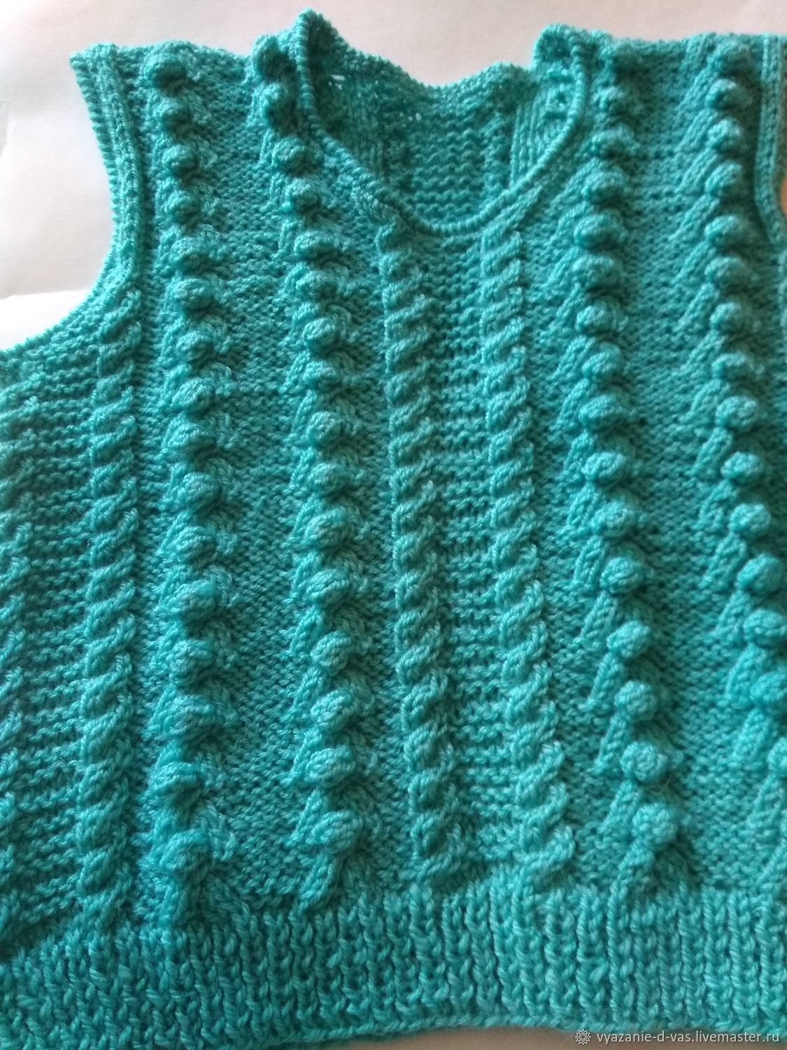 Vest knitted tank top wool Turquoise for boy girl autumn, Vests, Voronezh,  Фото №1