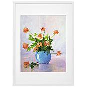 Картины и панно handmade. Livemaster - original item Painting flowers in a vase frying orange green blue. Handmade.