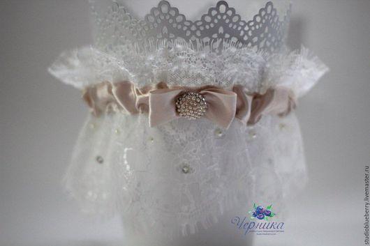 Одежда и аксессуары ручной работы. Ярмарка Мастеров - ручная работа. Купить Свадебная подвязка невесты. Handmade. Бежевый