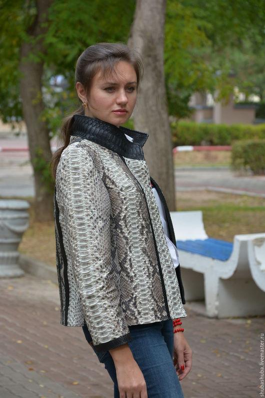 Верхняя одежда ручной работы. Ярмарка Мастеров - ручная работа. Купить Куртка из кожи питона. Handmade. Звериная расцветка
