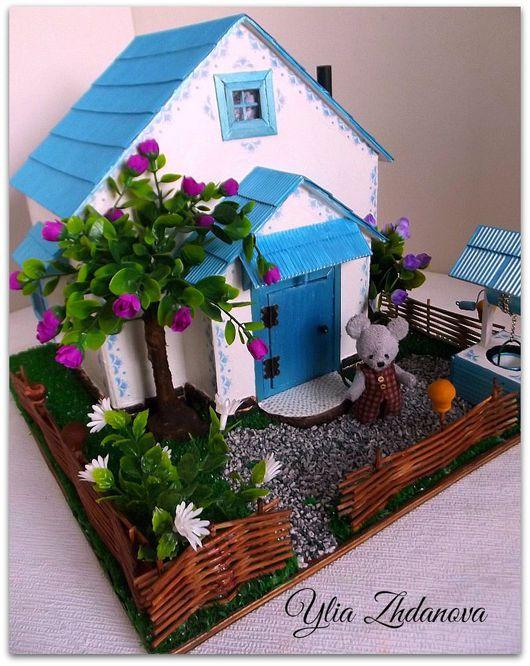 Кукольный дом ручной работы. Ярмарка Мастеров - ручная работа. Купить Домик в голубом настроении.. Handmade. Разноцветный, миниатюра, картон