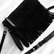 Клатчи ручной работы. Ярмарка Мастеров - ручная работа Кожаная сумка на плечо. Замшевая черная сумка.Черный замшевый клатч. Handmade.