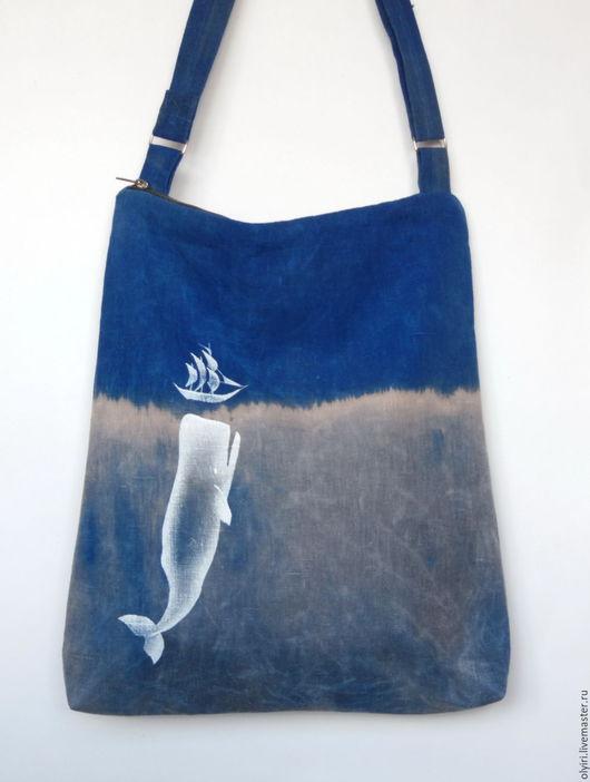 сумка льняная Кит, Моби Дик,  морская тема, киты, вощёный лён, сумка на каждый день, оригинальная сумка, море