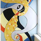 """Дизайн и реклама ручной работы. Ярмарка Мастеров - ручная работа Роспись стены в лоджии """"Северное сияние"""". Handmade."""