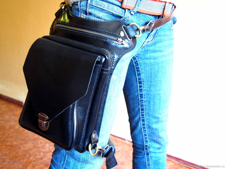 Кожаная сумка на ногу, поясная сумка, черная сумка, L, Сумки, Одесса, Фото №1
