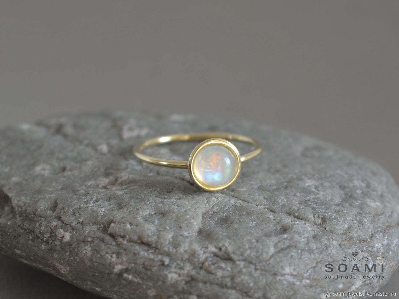Кольца ручной работы. Ярмарка Мастеров - ручная работа. Купить Золотое  кольцо с лунным камнем ... 77f6d38545c