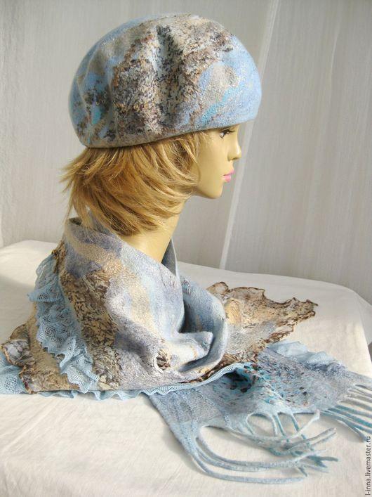 Береты ручной работы. Ярмарка Мастеров - ручная работа. Купить Голубой песок  берет и шарф валяный авторский. Handmade. Голубой