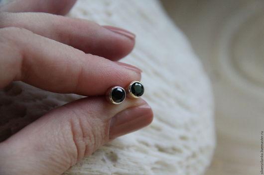 Серьги ручной работы. Ярмарка Мастеров - ручная работа. Купить Серьги-пуссеты с черным ониксом. Handmade. Камни натуральные